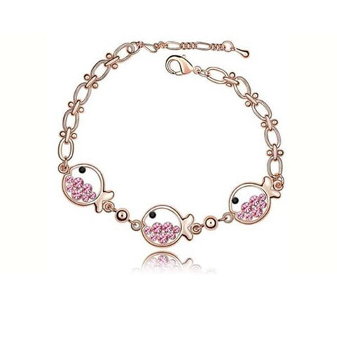 Pink Hippo Store Fish Crystal bracelet Pink
