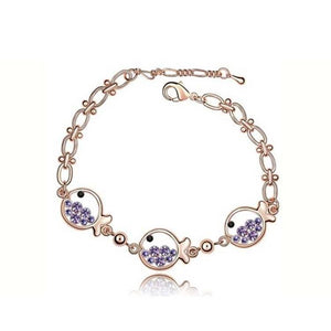 Pink Hippo Store Fish Crystal bracelet Purple