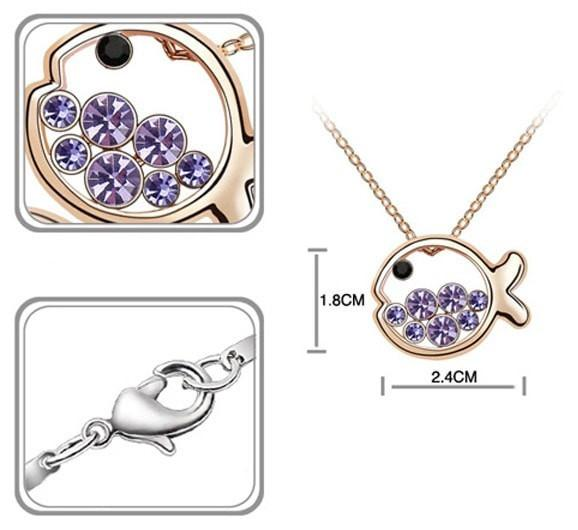 Pink Hippo Store Fish Crystal necklace Purple