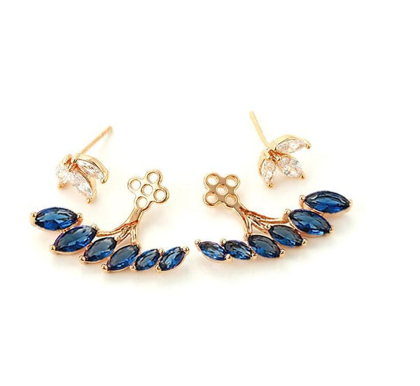 Pink Hippo Store Floral Zircon earrings Blue