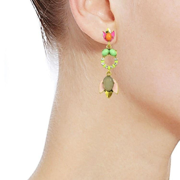 Pink Hippo Store Flower and Circle earrings Multicolor