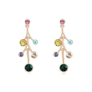 Pink Hippo Store Flower Drop Crystal earrings Multi-color