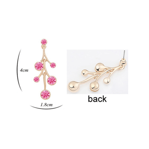 Pink Hippo Store Flower Drop Crystal earrings Pink