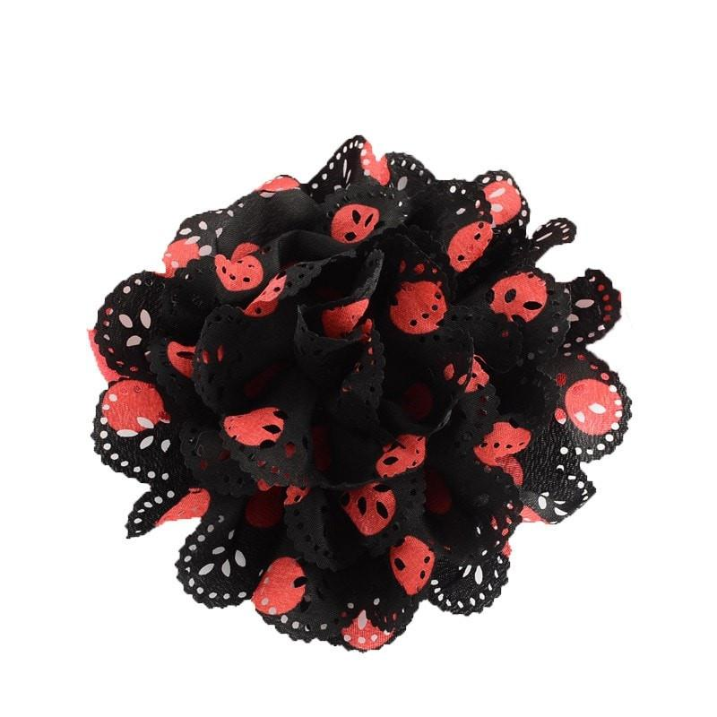 Pink Hippo Store Gardenia Crochet hair band Black-Red Black-Red