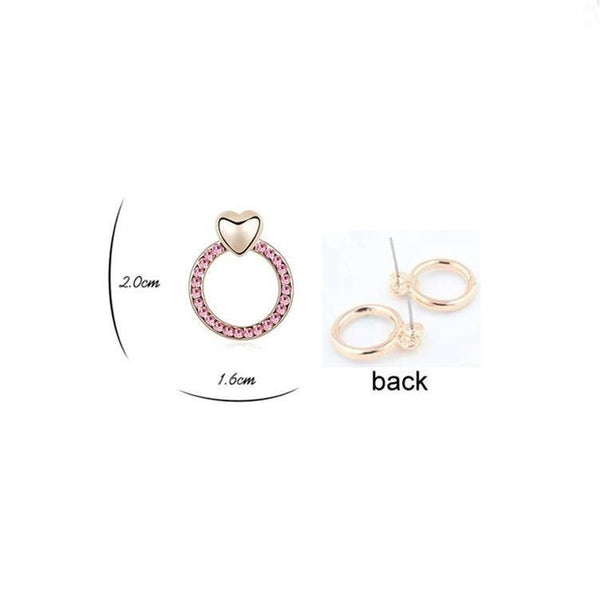 Pink Hippo Store Heart Circle Crystal earrings Pink
