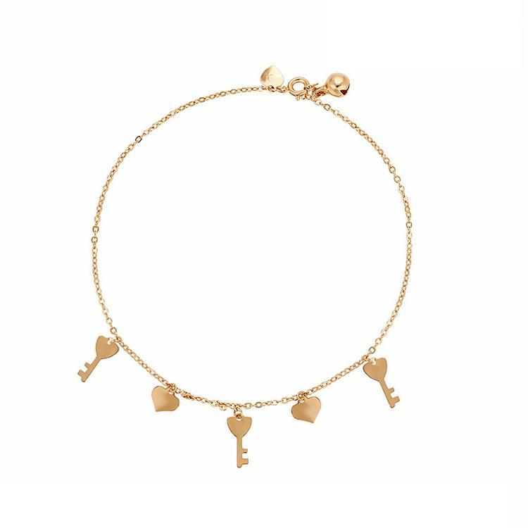 Pink Hippo Store Heart Key anklet Gold