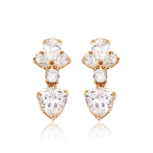Pink Hippo Store Heart Petal Zircon earrings Clear