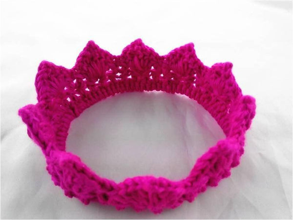 Pink Hippo Store Knitted cotton crown hair band Dark pink
