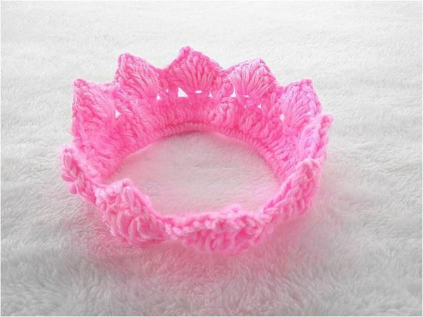 Pink Hippo Store Knitted cotton crown hair band Fluorescent pink