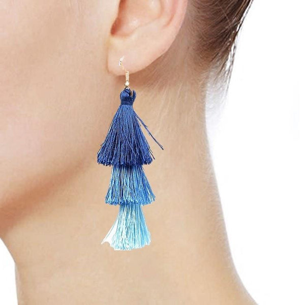 Pink Hippo Store Layer Tassel Thread Earrings Blue