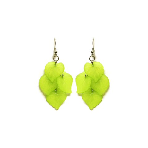 Pink Hippo Store Leaf Chandelier earrings Green