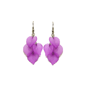Pink Hippo Store Leaf Chandelier earrings Purple