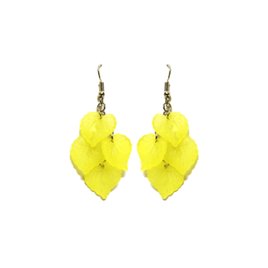 Pink Hippo Store Leaf Chandelier earrings Yellow