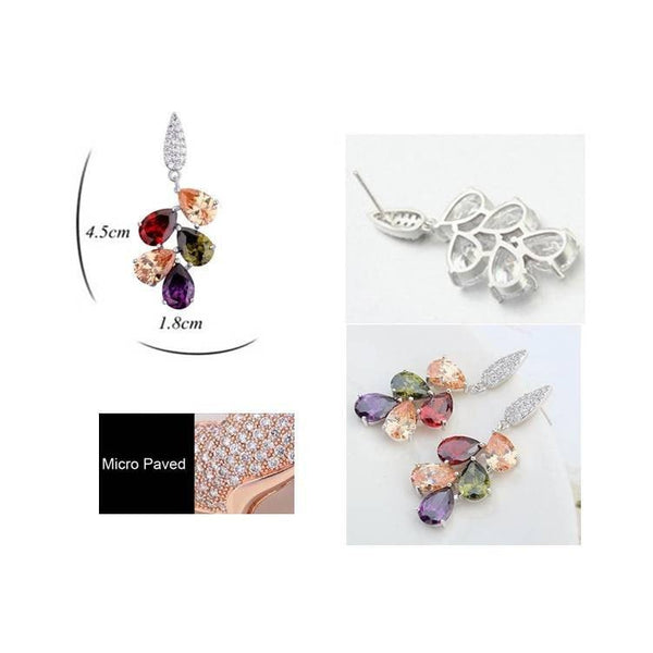 Pink Hippo Store Leave Branch Crystal earrings