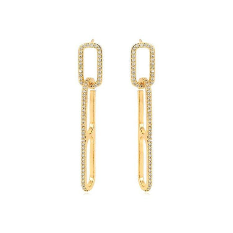 Pink Hippo Store Link Zircon earrings Clear