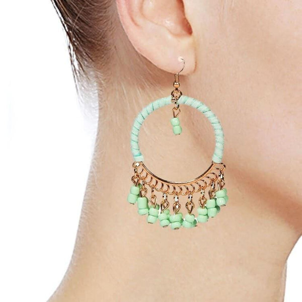 Pink Hippo Store Loop Bead earrings Green