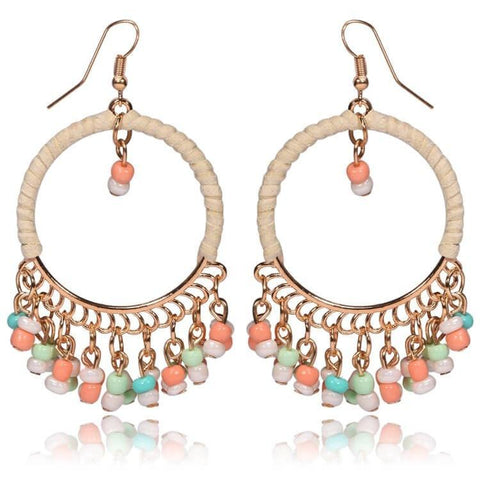 Pink Hippo Store Loop Bead earrings Multi-color