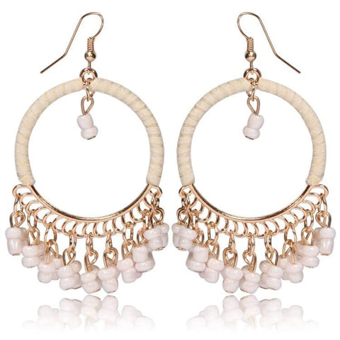 Pink Hippo Store Loop Bead earrings White