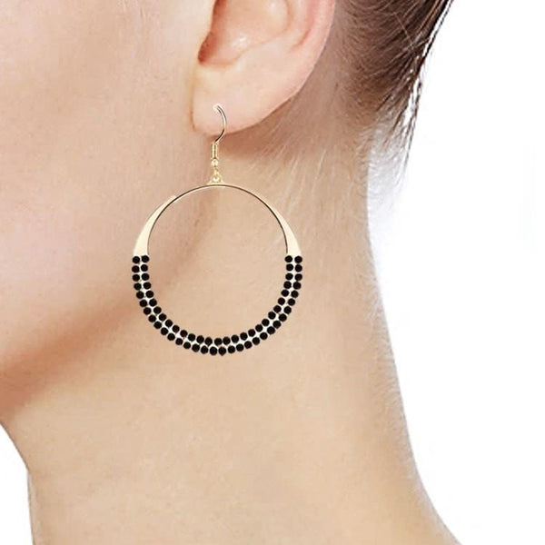 Pink Hippo Store Loop Crystal earrings Black