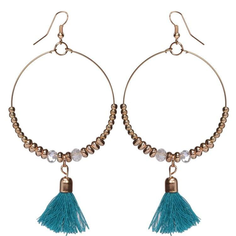 Pink Hippo Store Loop Tassel earrings Blue