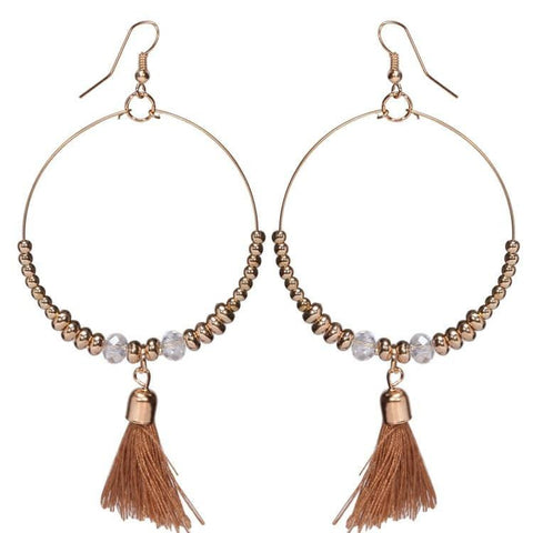 Pink Hippo Store Loop Tassel earrings Brown