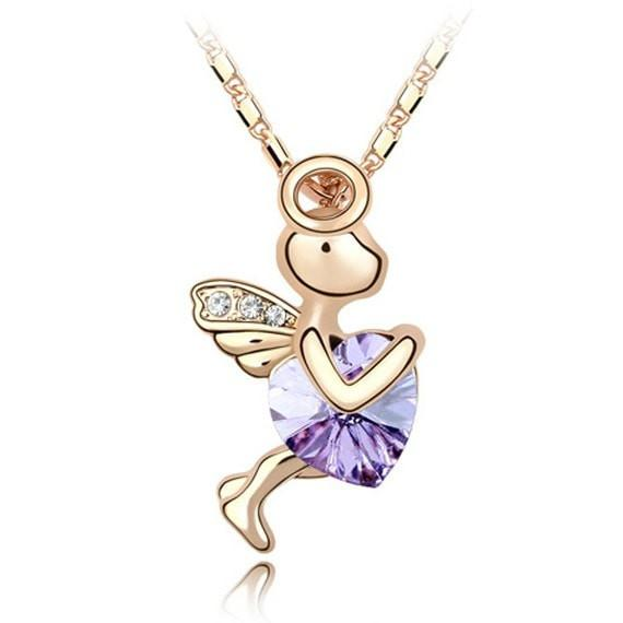 Pink Hippo Store Love Cupid Crystal necklace Purple Purple
