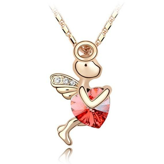 Pink Hippo Store Love Cupid Crystal necklace Red Red