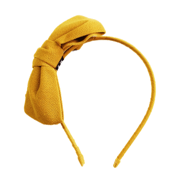 Oversized bow hair band Mustard