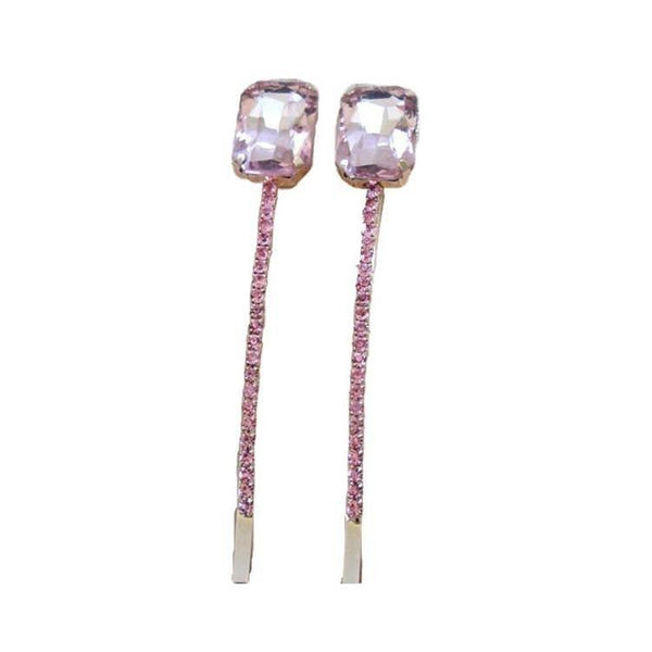 Pink Hippo Store Rectangle Rhinestones hair pin Pale Pink