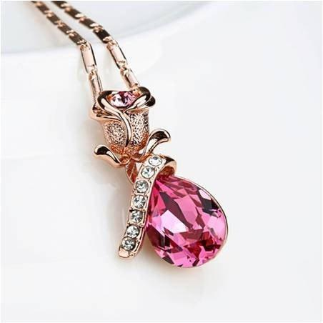 Pink Hippo Store Rose Shaped Crystal necklace Pink Pink