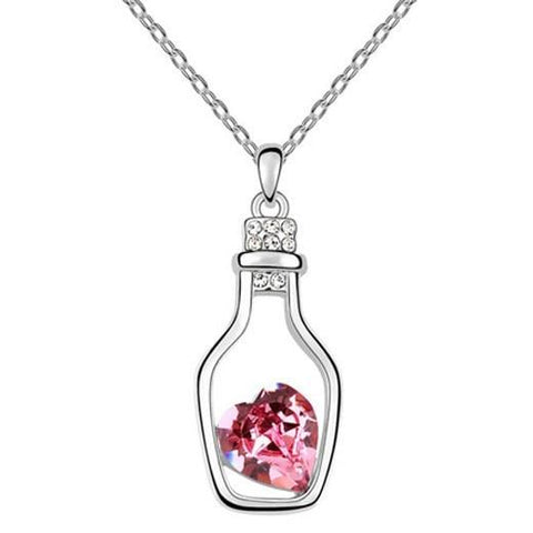 Pink Hippo Store Seal in a Bottle Crystal necklace Pink Pink