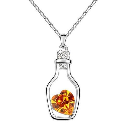 Pink Hippo Store Seal in a Bottle Crystal necklace Yellow Yellow
