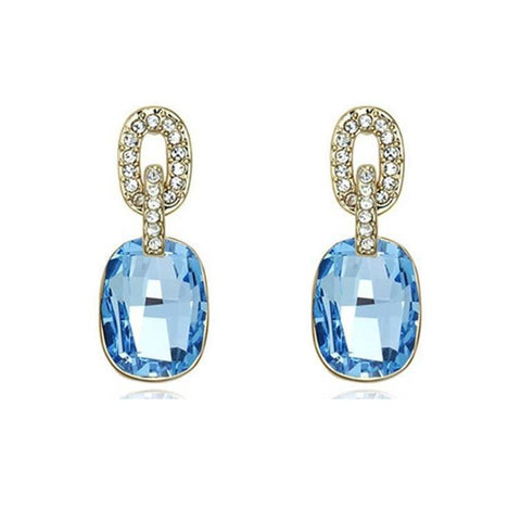 Pink Hippo Store Solitaire Rectangle Crystal earrings Ocean Blue