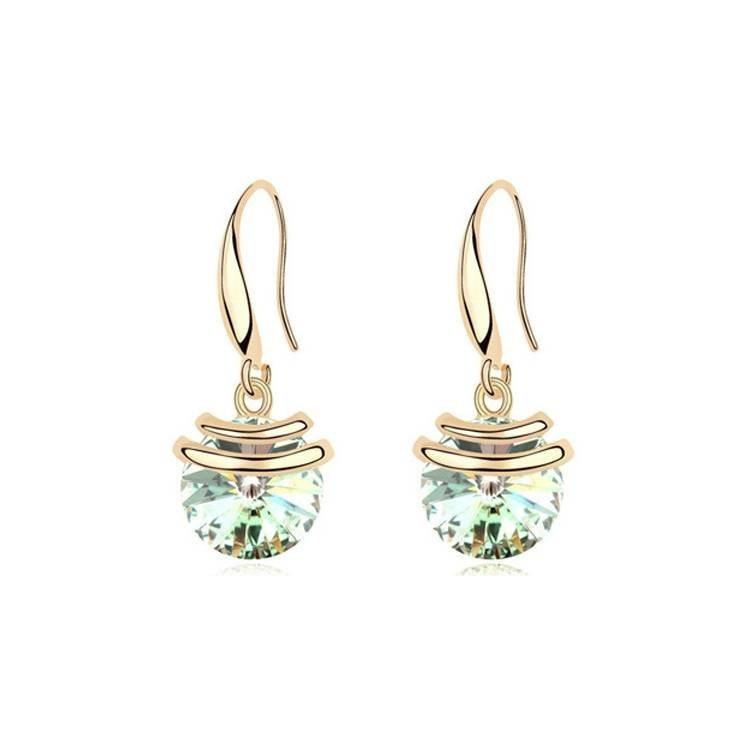 Pink Hippo Store Stone Drop Crystal earrings Olive