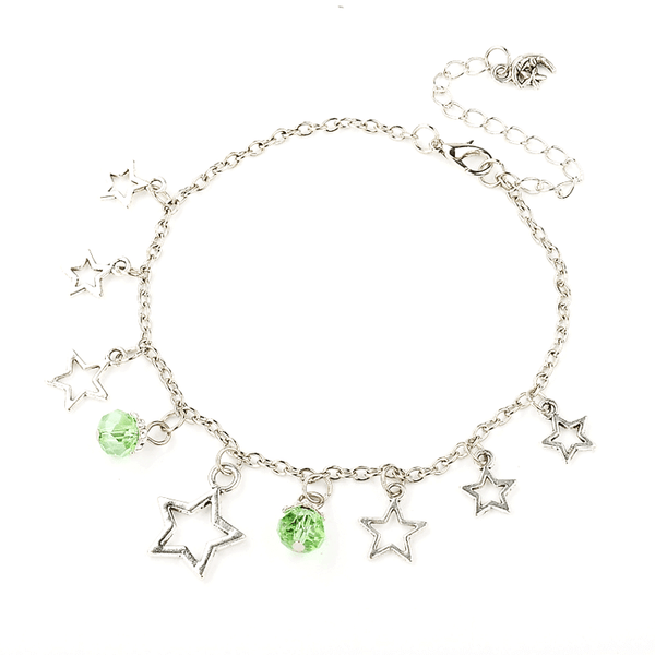 Pink Hippo Store Stones and Stars Charm anklet Green