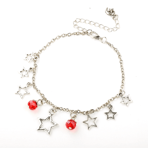 Pink Hippo Store Stones and Stars Charm anklet Red