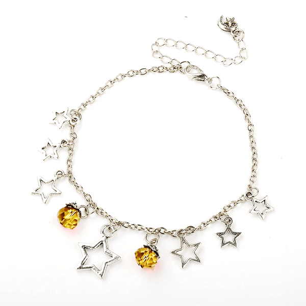 Pink Hippo Store Stones and Stars Charm anklet Yellow