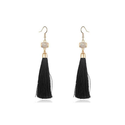 Pink Hippo Store Tassel Crystal earrings Black