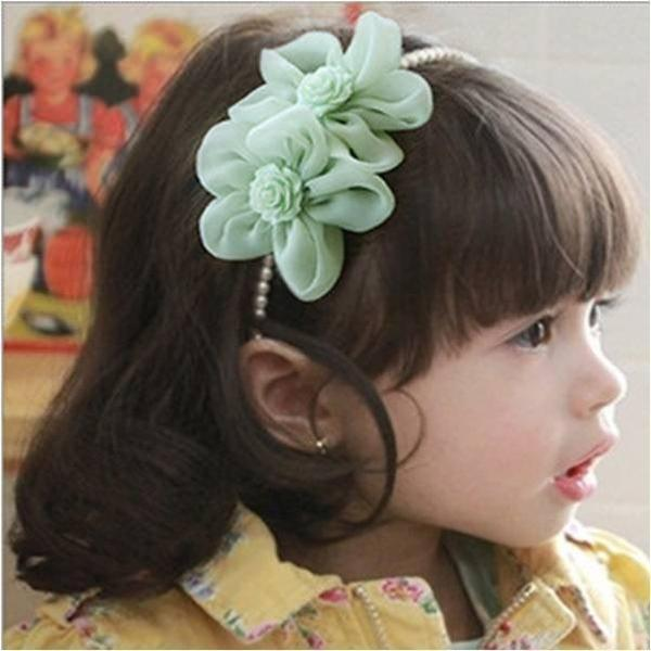 Twin Flower Pearl hair band Green