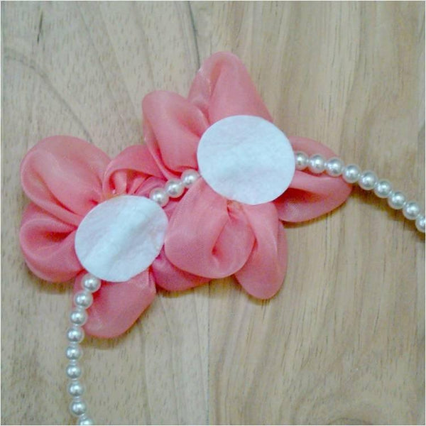 Pink Hippo Store Twin Flower Pearl hair band
