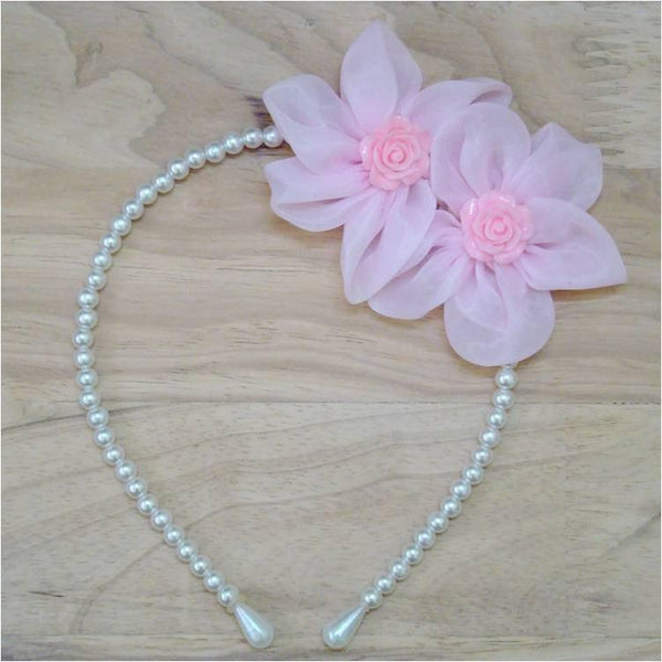 Pink Hippo Store Twin Flower Pearl hair band Pale pink
