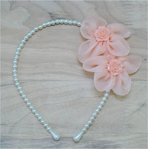 Pink Hippo Store Twin Flower Pearl hair band Peach