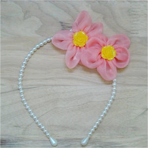 Pink Hippo Store Twin Flower Pearl hair band Tomato