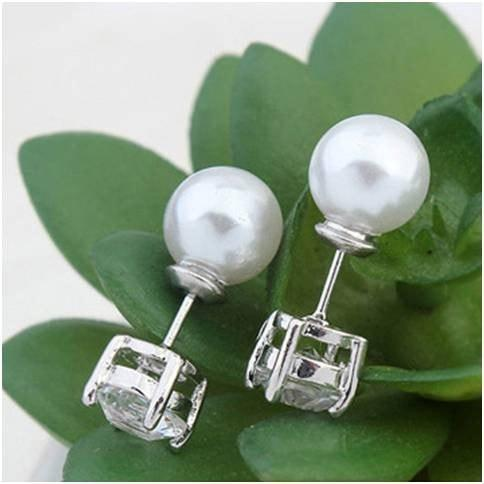 Pink Hippo Store Twin Pearl Zircon earrings