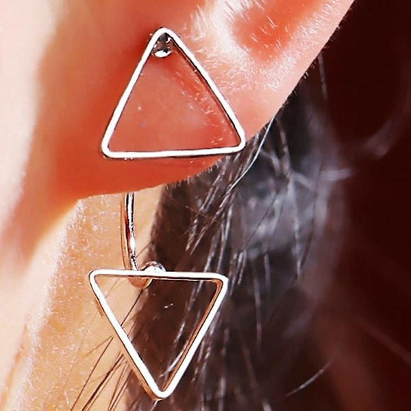 Pink Hippo Store Twin Triangle Jacket earrings