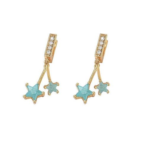 Pink Hippo Store Twinned Zircon earrings Blue