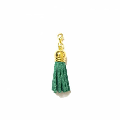 Pink Hippo Store Victory Tassel Gold Charm Dark Green