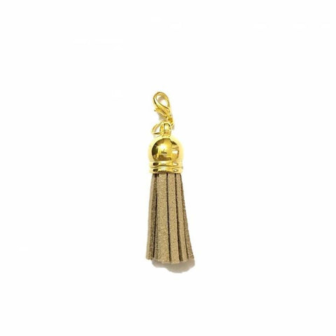 Pink Hippo Store Victory Tassel Gold Charm Dusty Brown