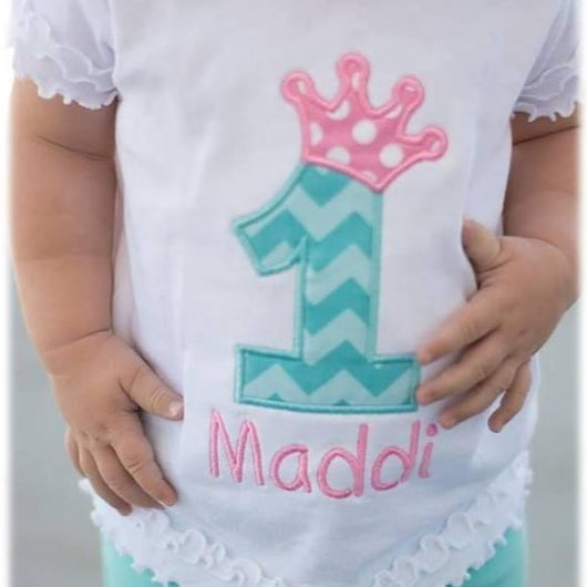 Personalized Crown Birthday T-Shirt - Little Miss Petals - 1