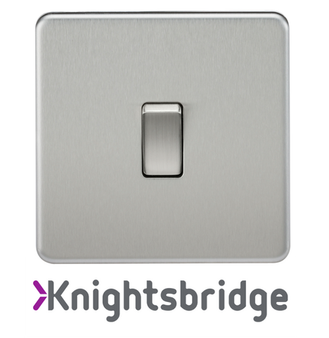 Knightsbridge Screwless Flat Plate Brushed Chrome
